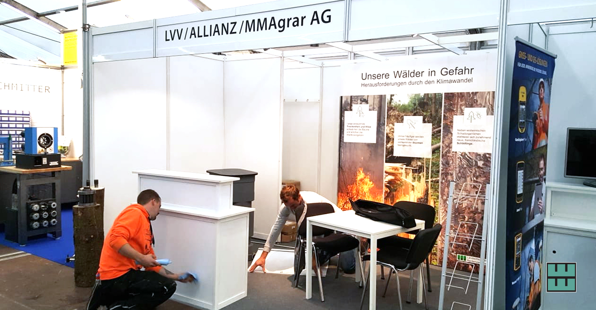 DLG Waldtage 2019 Weber Werbung Mietmöbel Messebau Beschriftungen Lichtenau Westfalen LVV Allianz MMAgrar AG