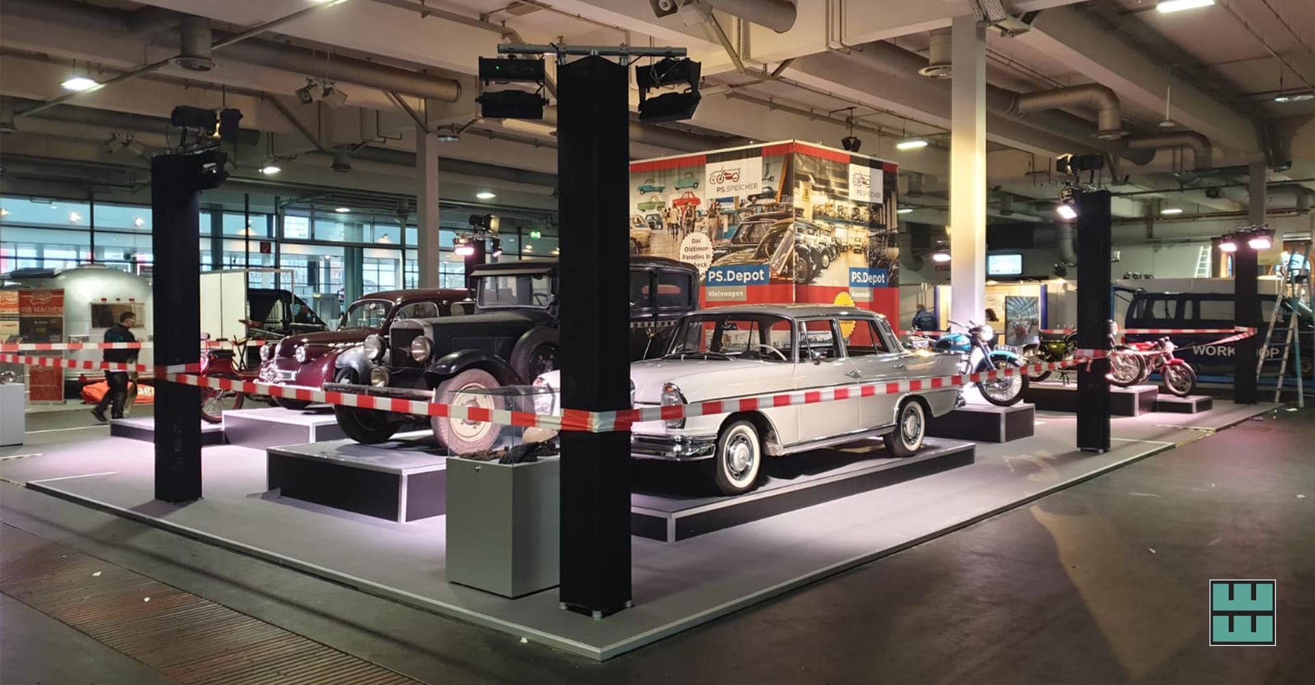 Weber Werbung aus Delligsen baut zwei Messestände für den PS Speicher auf der Bremen Classic Motorshow 2020