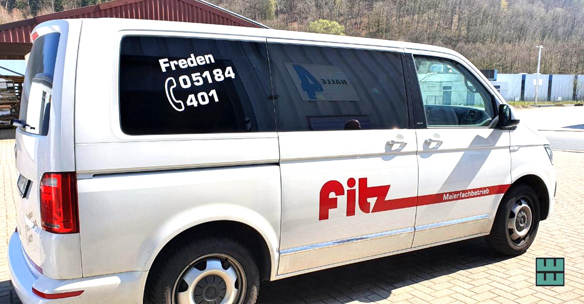 Seit letzter Woche sieht man den Malerfachbetrieb Fitz aus Freden mit neuer KFZ-Beschriftung!
