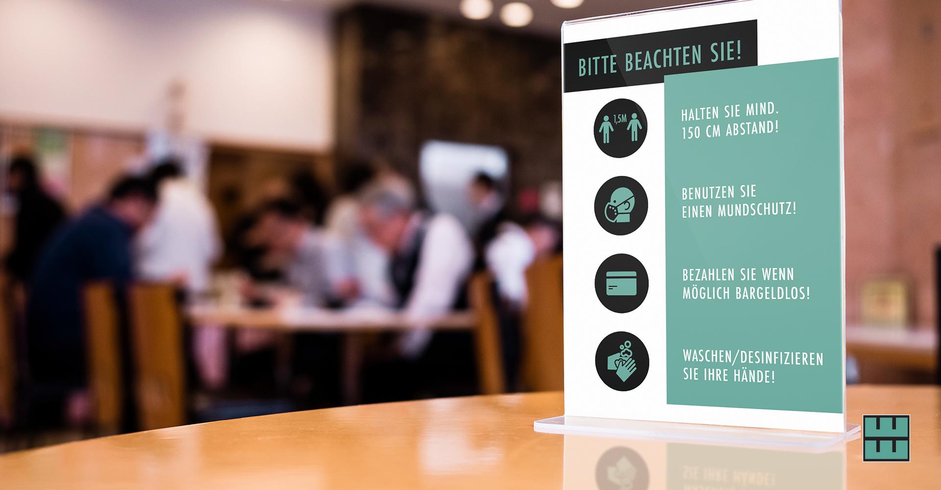 Ab dem 11.05.2020 darf die Gastronomie wieder öffnen! Jetzt Hygieneschutz sichern: Tischaufsteller mit Hygieneregeln