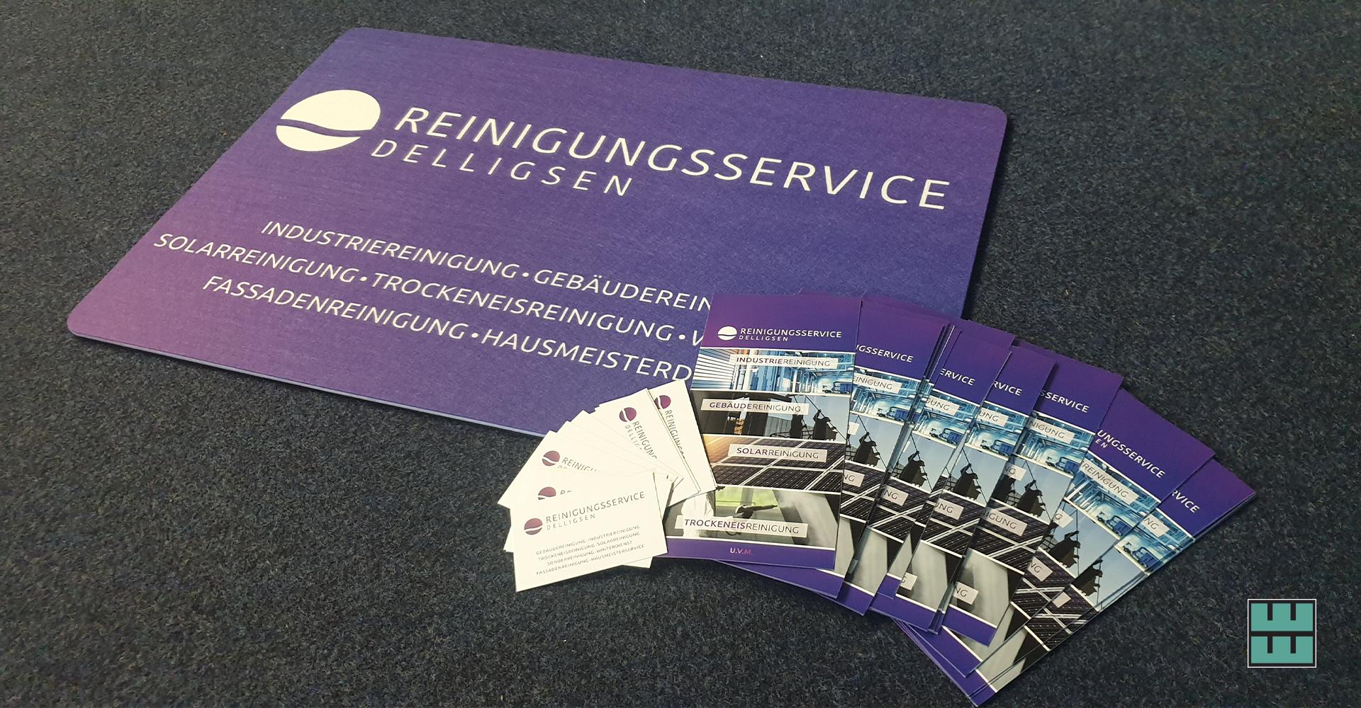 Corporate Design, Logo, Visitenkarten, Briefpapier, Website, Flyer, Fußmatten, Schilder sowie eine Anhängerbeschriftung für Reinigungsservice Delligsen.