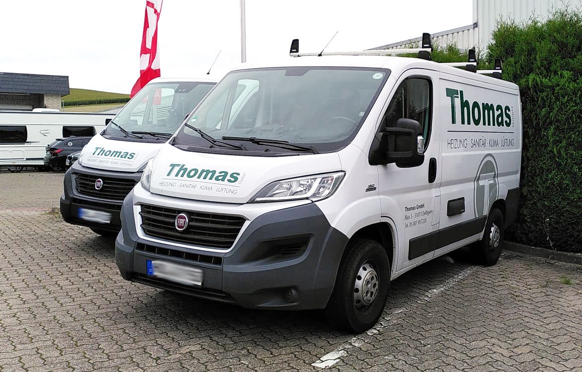 DerDelligser Handwerker-Spezialist Heizung und Sanitär Thomas GmbHlässt bereits seit vielen Jahren bei uns seinen Fuhrpark bekleben.