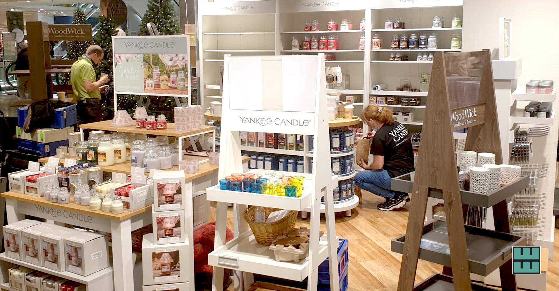 Für Yankee Candle haben wir Ende letzten Jahres in Hamburg und Köln Shopeinbauten in Kaufhäusern vorgenommen.