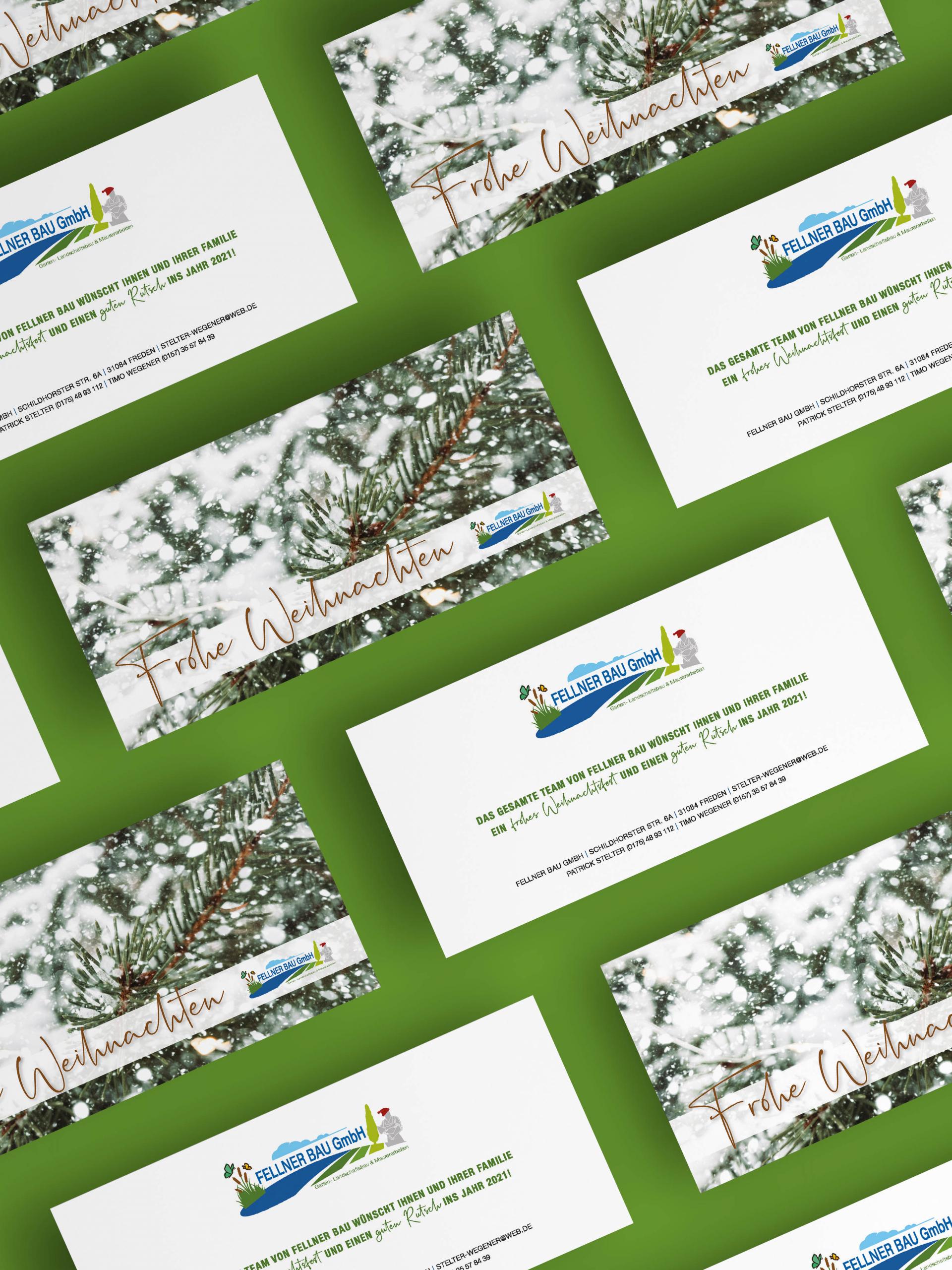 Design und Druck einer Weihnachtskarte 2020 für Fellner Bau aus Freden