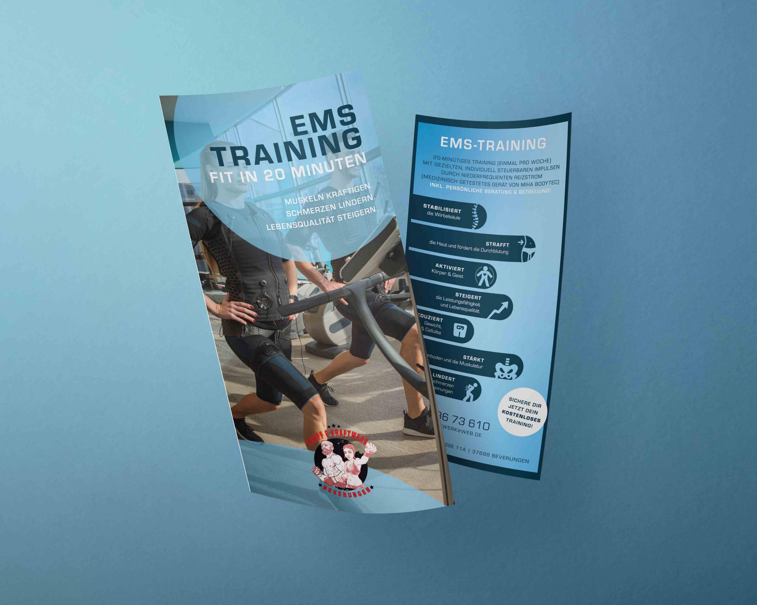 Grafik Design für eine Flyer zum Thema EMS für das Kampf und Kraftwerk Beverungen