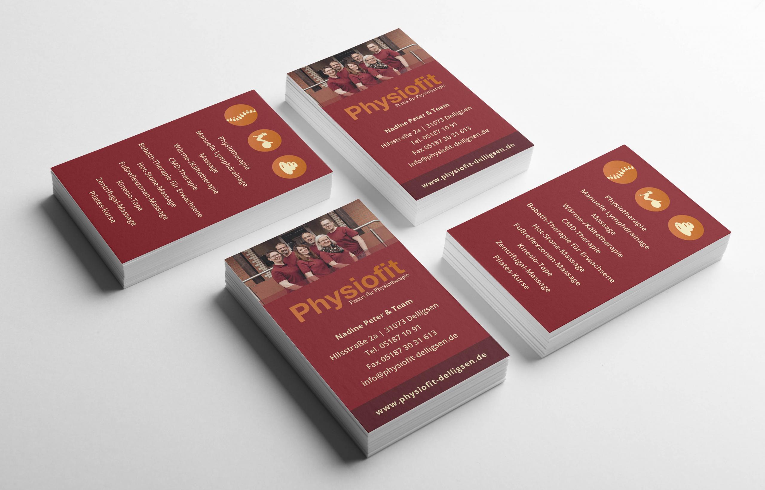 Neu gestaltete Visitenkarten für die Physiotherapie-Praxis Physiofit aus Delligsen