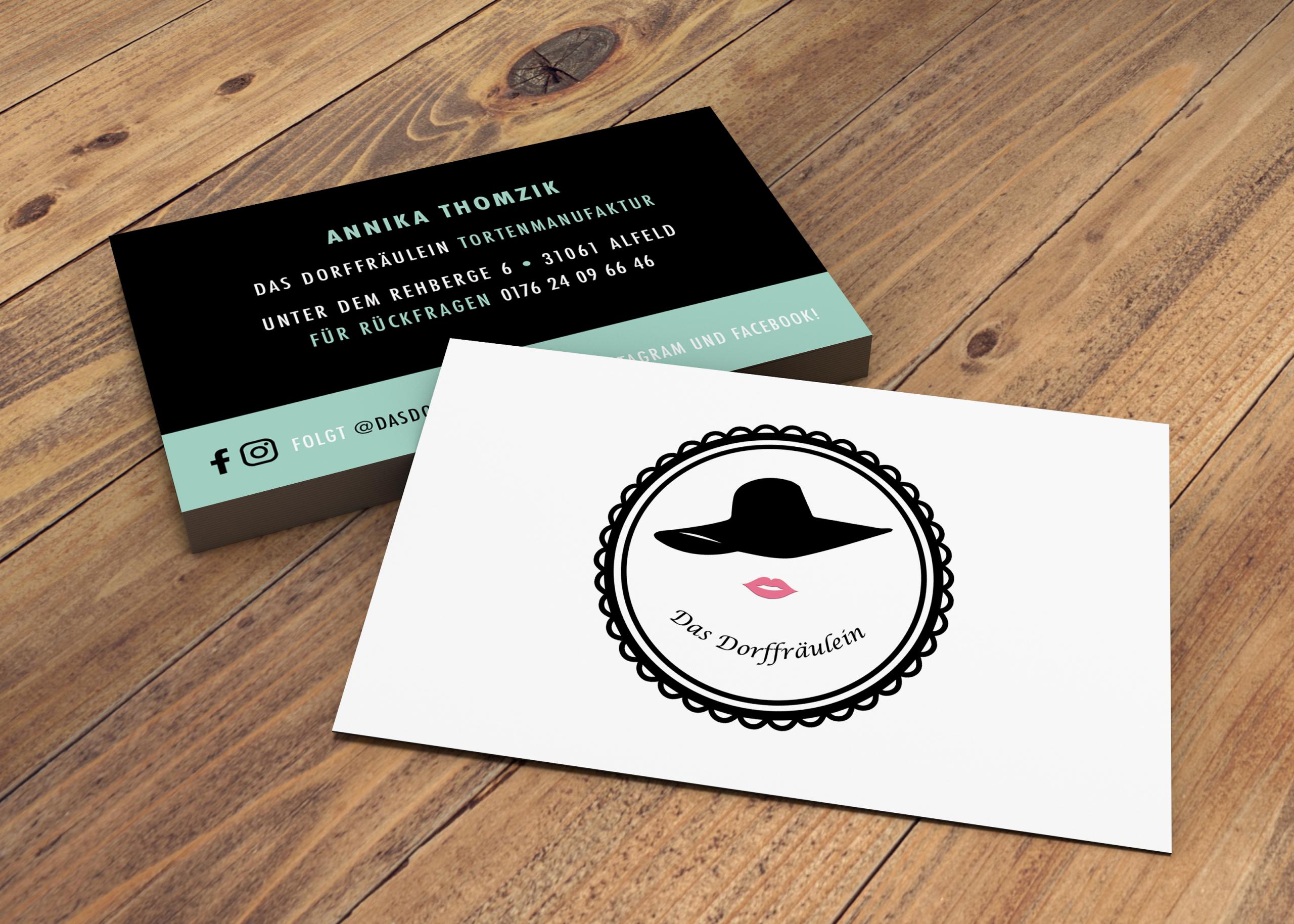 Neu designte Visitenkarten für das Dorffräulein