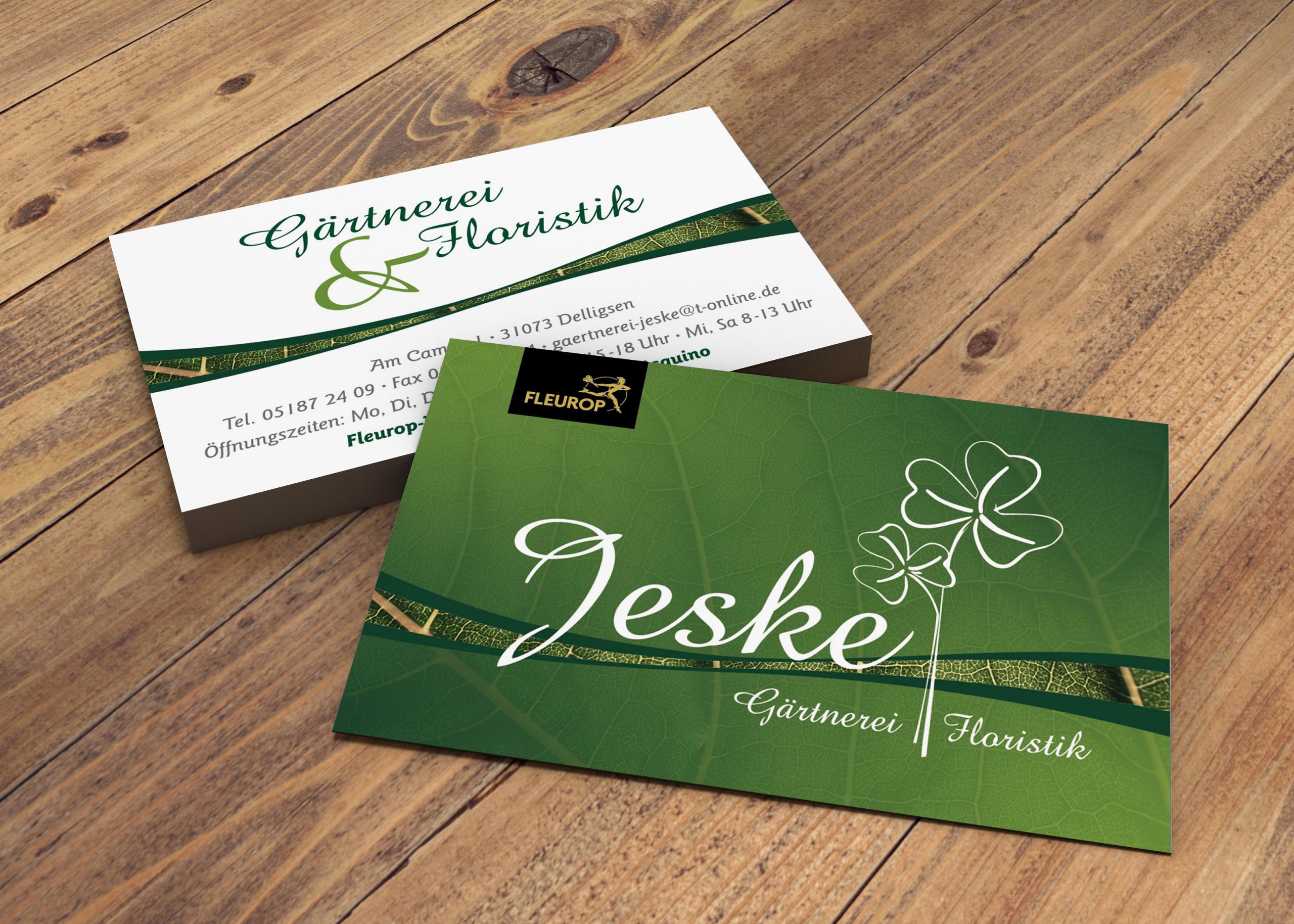 Neues Visitenkartendesign für Gärtnerei und Floristik Jeske aus Delligsen